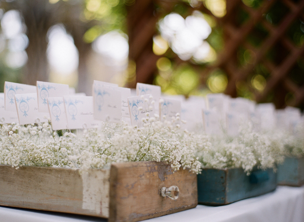 Place-Cards-in-Wooden-Drawers-With-Babys-Breath