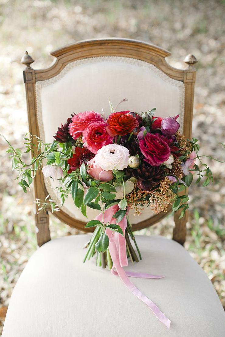 ramo de novia con terciopelo
