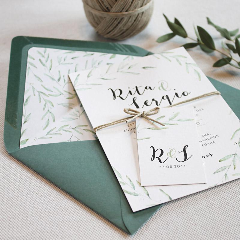 invitacion de boda sobre forrado