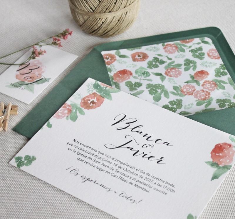 invitaciones boda sobre flores peonias
