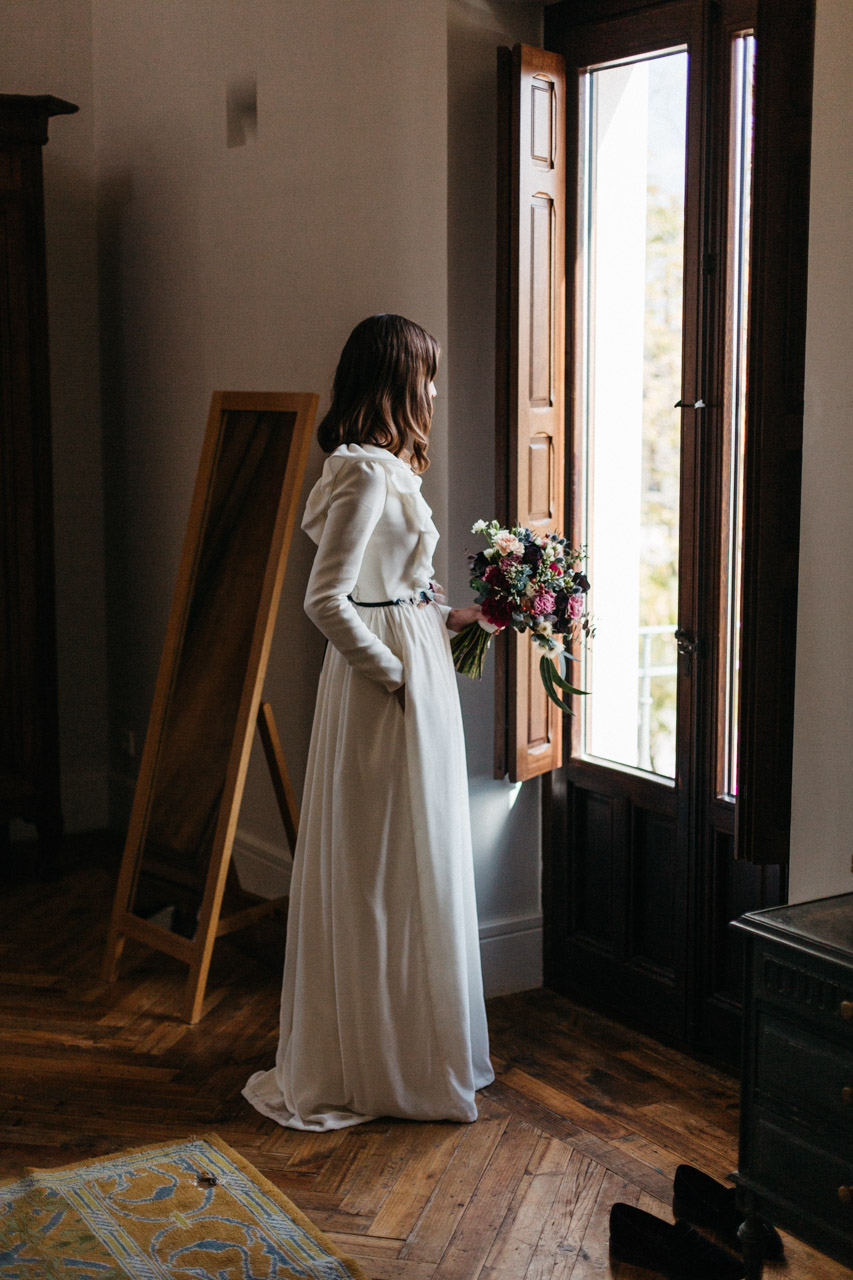 novia vestido invierno