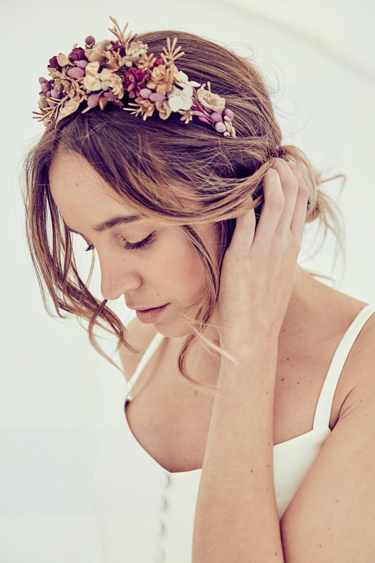 tocado novia flores